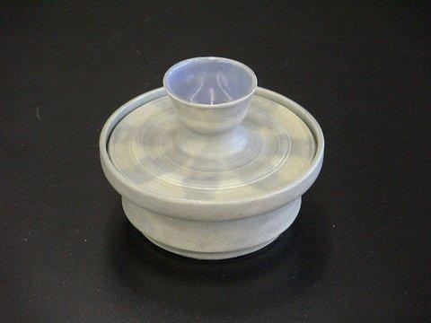 1012: Blue Glazed Stoneware Dish W/Lid Signed
