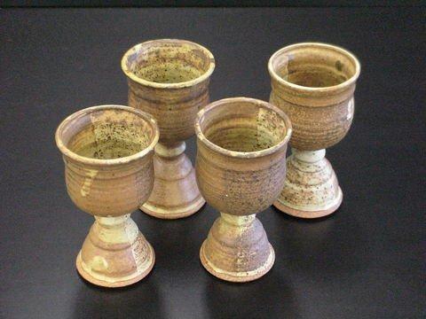 1013: 4 Brown Speckled Glazed Stoneware Goblets Signed