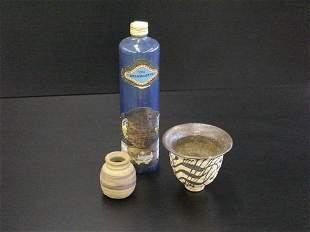 3 Stoneware Pieces-Ink Bottle, Planter, & More