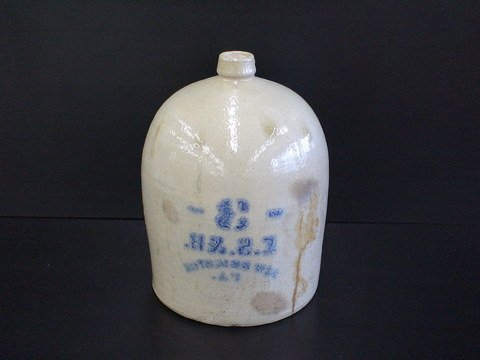1016: Stoneware Jug Blue Reverse Decorated Ecru Glaze