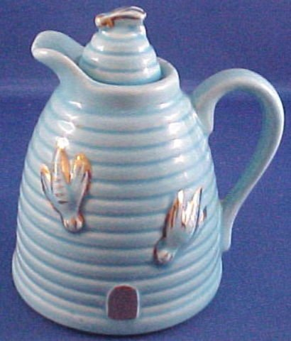 1017: Pottery Honey Pitcher W/Bees & Gold Trim USA
