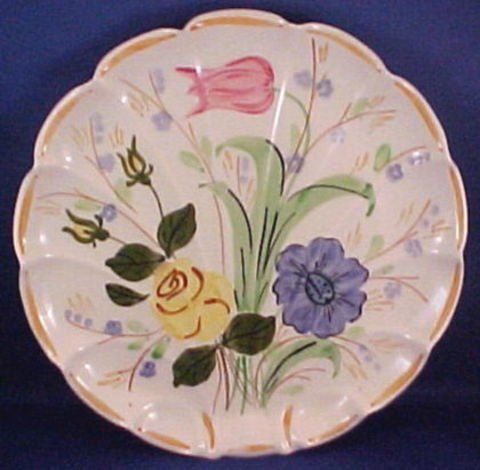 1020: Hand Painted Blue Ridge Pottery Serving Plate
