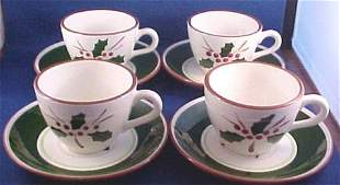 Stangl Pottery Cup/Saucer Sets-Holly Pattern