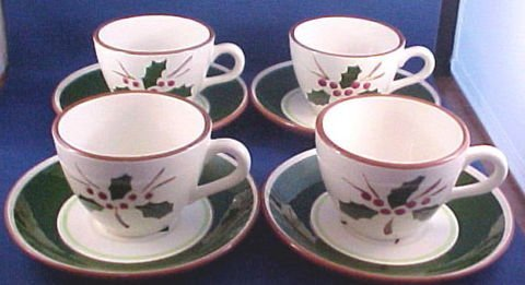 1023: Stangl Pottery Cup/Saucer Sets-Holly Pattern
