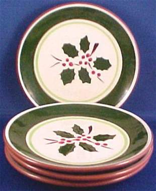Four Stangl Pottery Salad Plates Holly Pattern