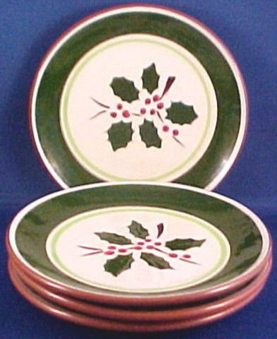 1024: Four Stangl Pottery Salad Plates Holly Pattern
