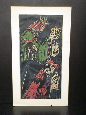 "1191: Matted watercolor titled ""The Three Kings"" by dra"