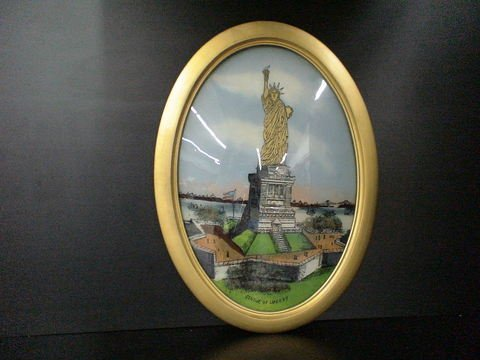 1202: Reverse Painting Statue Of Liberty Oval Frame