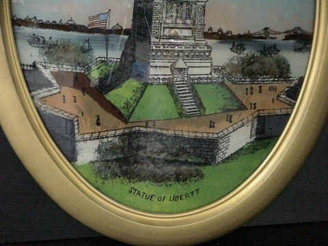 1202: Reverse Painting Statue Of Liberty Oval Frame  - 2