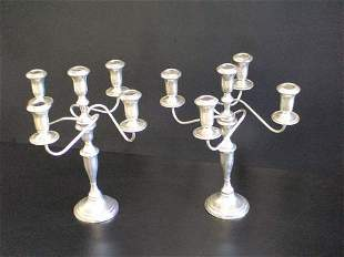 Pair of 5 branch Weighted Sterling Candelabra, ma