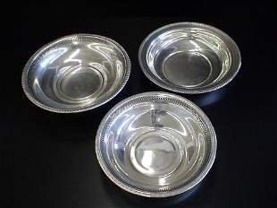 3 Assorted Sterling bowls with pierced and decora