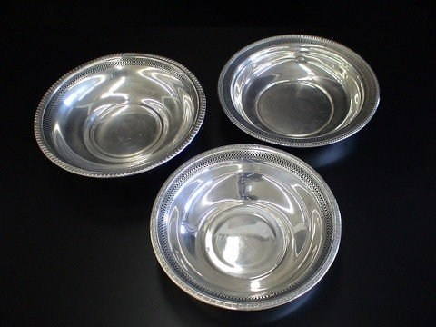 1006: 3 Assorted Sterling bowls with pierced and decora