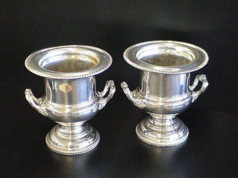 1008: Pair of Chippendale style heavy wine urns, marked