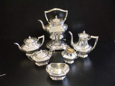 1010: 6 pc. Sterling Tea set, all marked Wallace Sterli