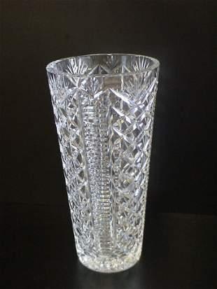 "Heavy Crystal flower vase, measurements 6""D x 12"""