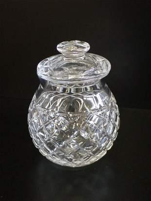 Heavy crystal spherical formed jar w/ lid marked