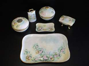 6 pc hand painted dresser set signed E.D. & dated