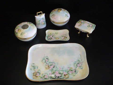 1021: 6 pc hand painted dresser set signed E.D. & dated