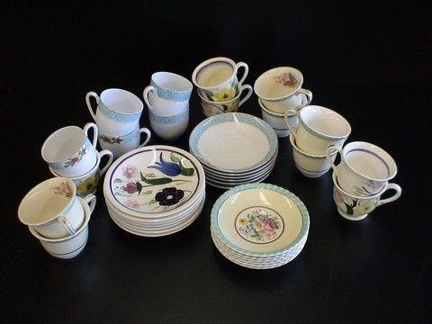 3 Demi-tasse sets, #1 Handpainted soft paste sign