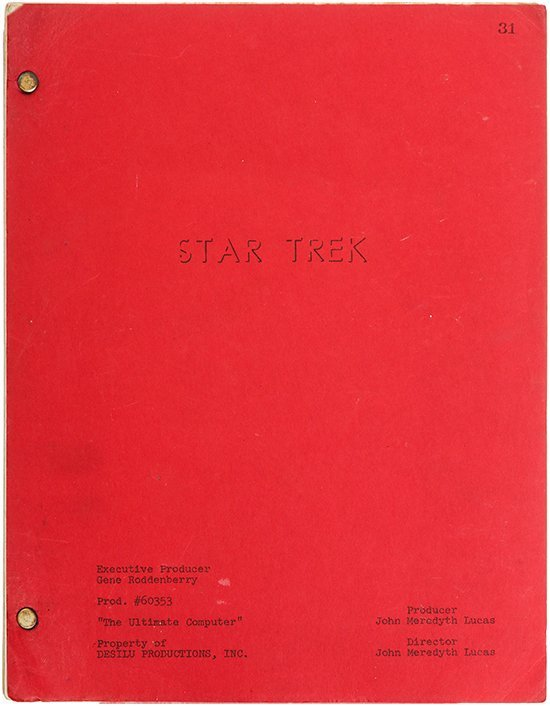 "Star Trek: TOS Original ""The Ultimate Computer"" Script"