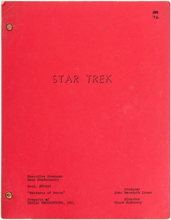 "Star Trek: TOS Original ""Patterns of Force"" Script"