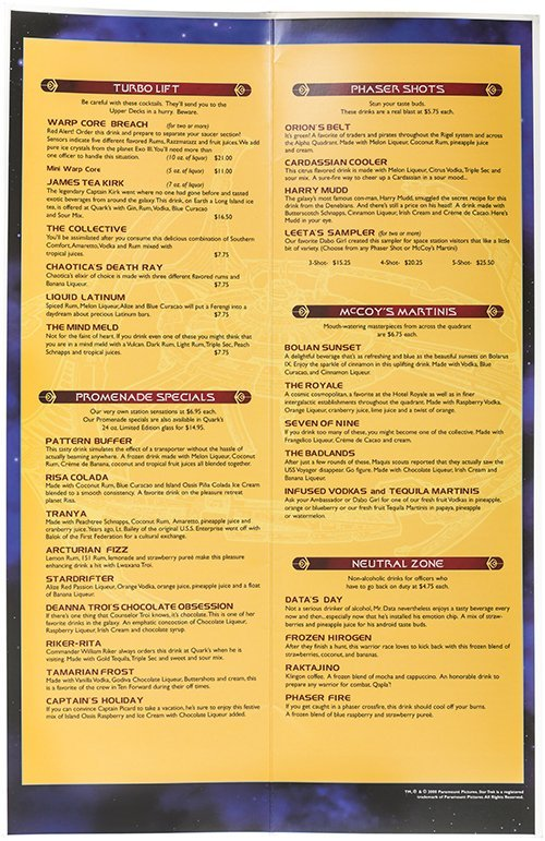 Star Trek: The Experience Quarks Bar Menu - 2