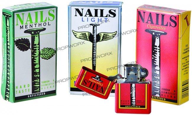 245: Set of Nails Cigarette Packs and Lighter