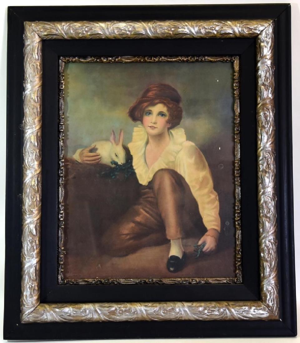 Boy w/Rabbit Print in Victorian Frame