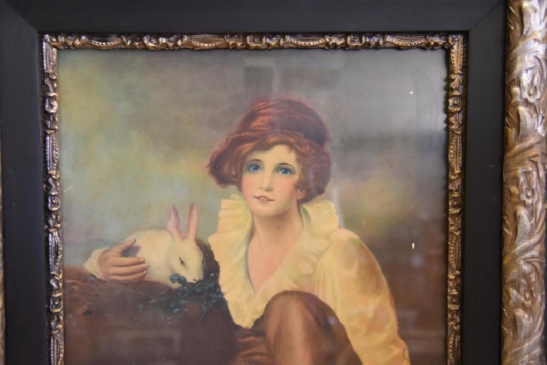 Boy w/Rabbit Print in Victorian Frame - 2