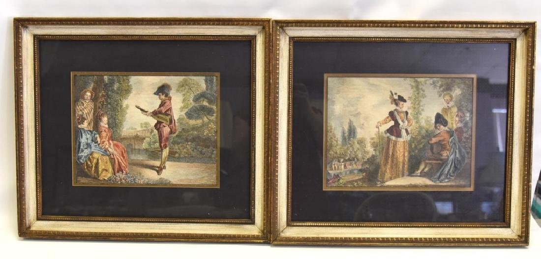 Framed Colored Artwork w/Figures in Period Dress