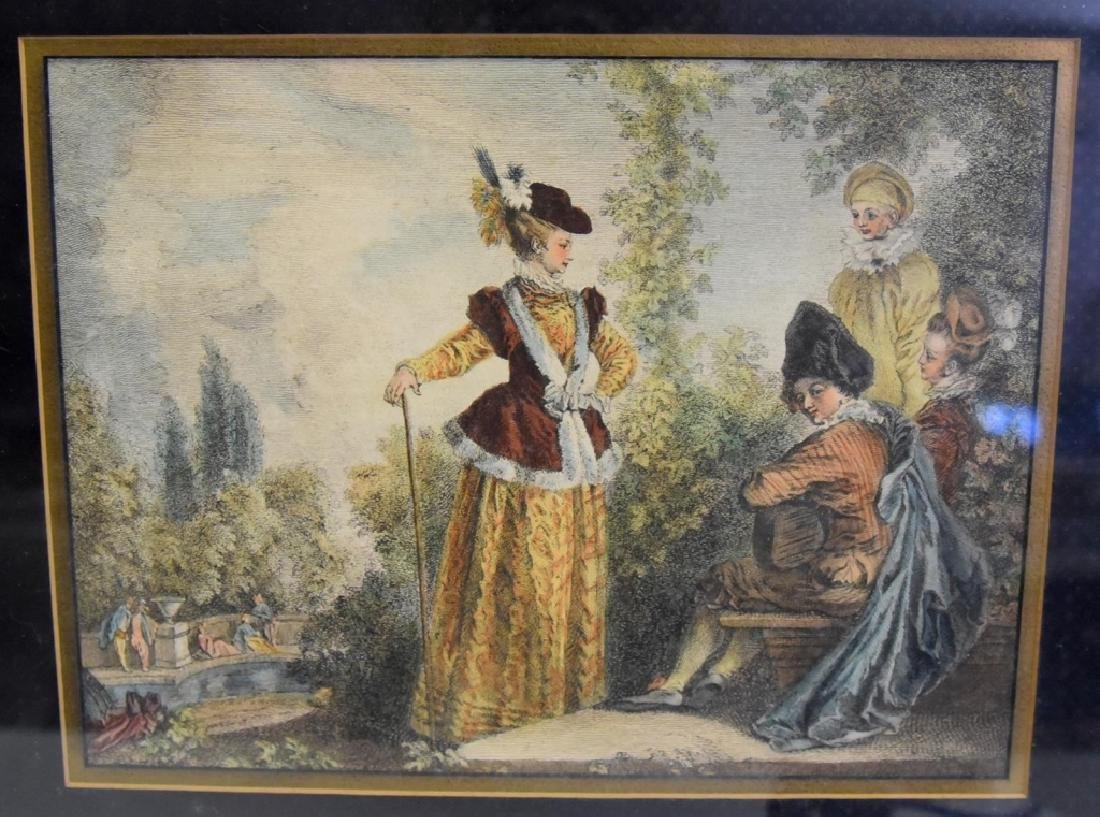 Framed Colored Artwork w/Figures in Period Dress - 3