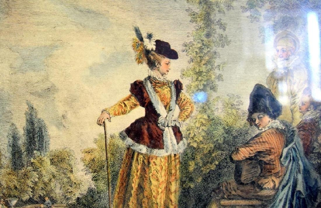 Framed Colored Artwork w/Figures in Period Dress - 4