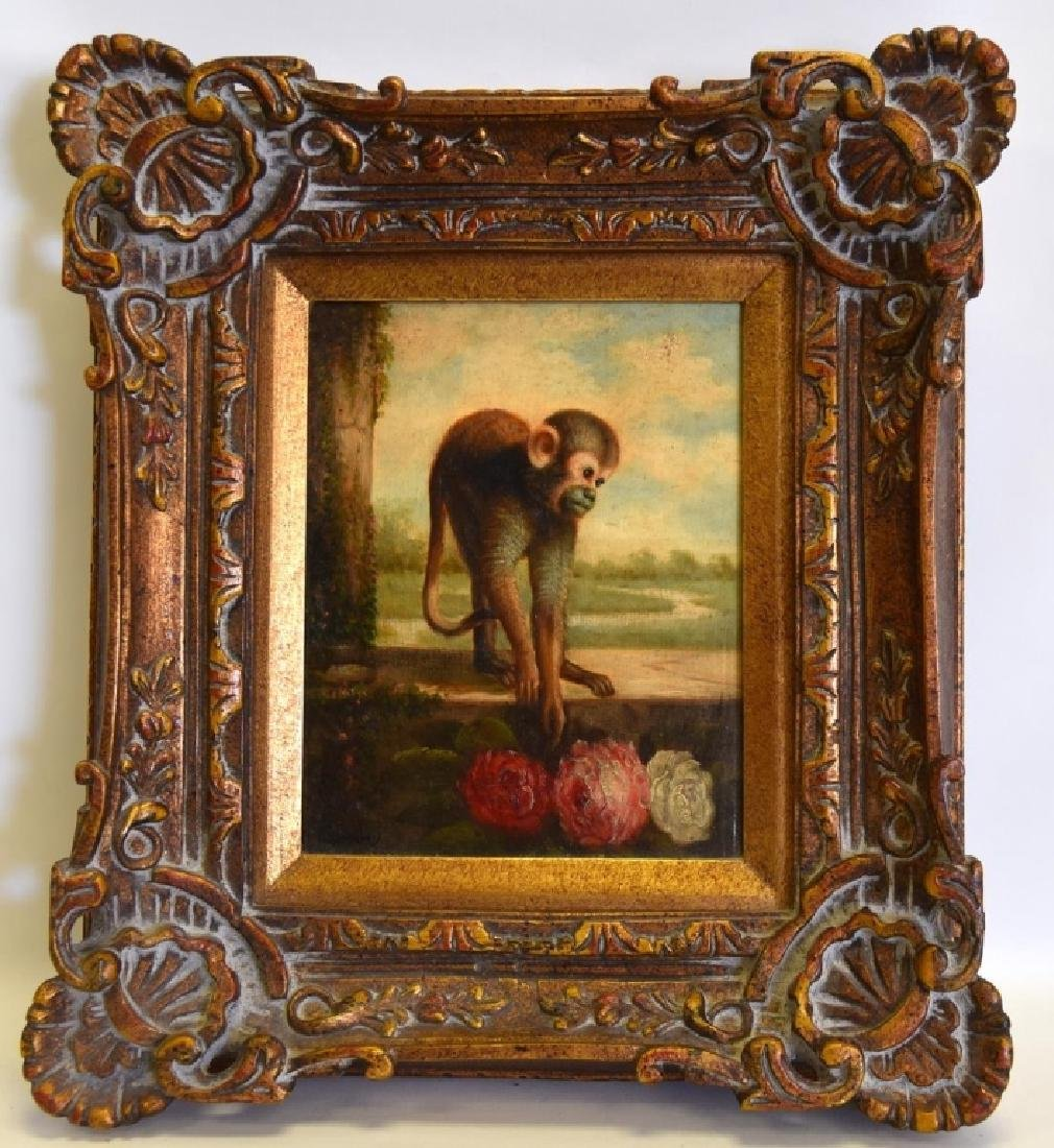 Oil on Canvas Monkey in Wide Ornate Gold Frame