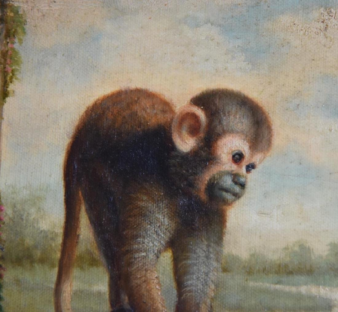 Oil on Canvas Monkey in Wide Ornate Gold Frame - 3