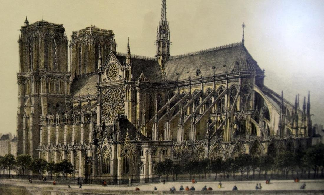 Notre Dame Cathedral Colored Print - 3