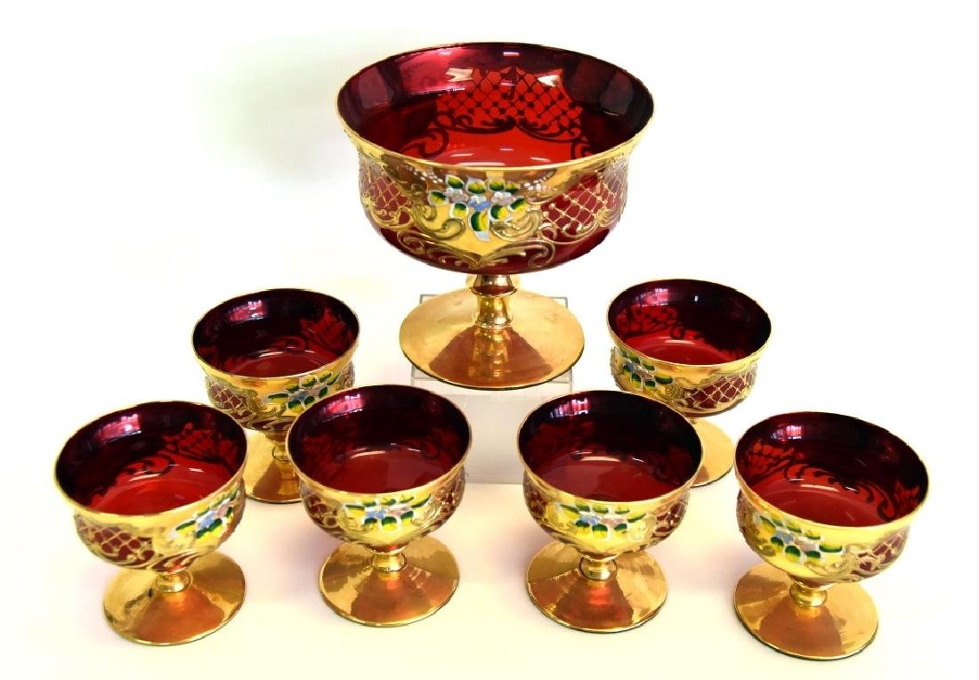 Ruby Glass Compote w/ 6 Small Compotes