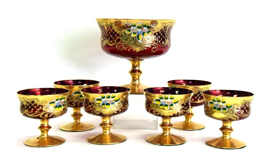 Ruby Glass Compote w/ 6 Small Compotes - 2