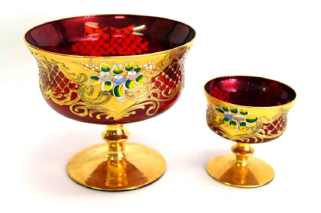 Ruby Glass Compote w/ 6 Small Compotes - 3