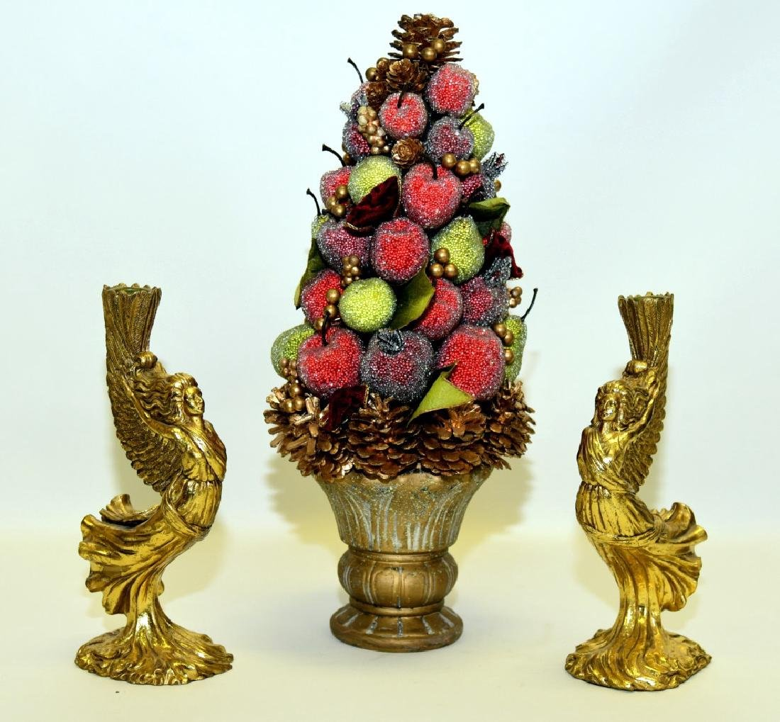 Beaded Fruit Centerpiece & Two Angel Candleholders