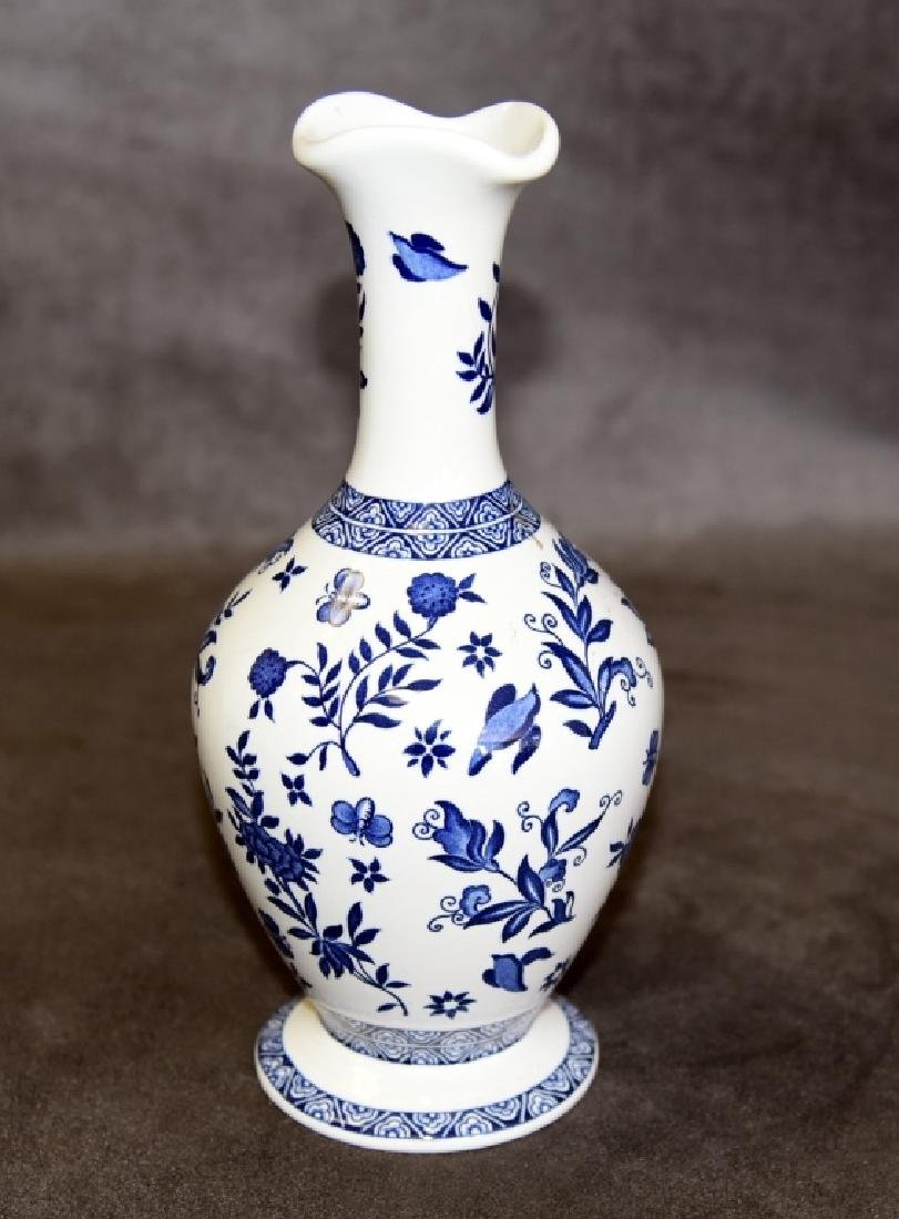 Coalport Blue & White Footed Vase
