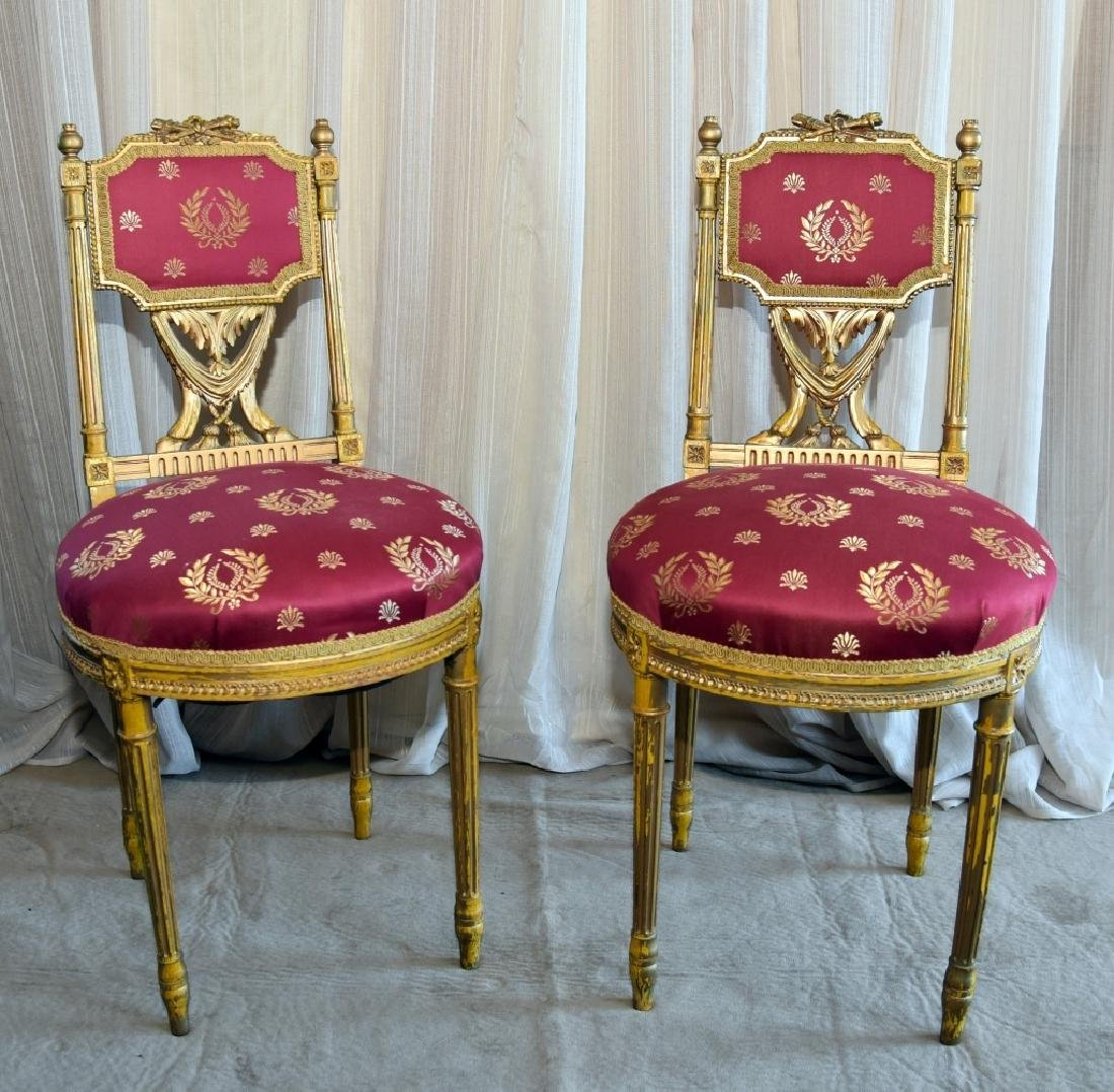 Pair Louis XVI Style Gold Painted Side Chairs