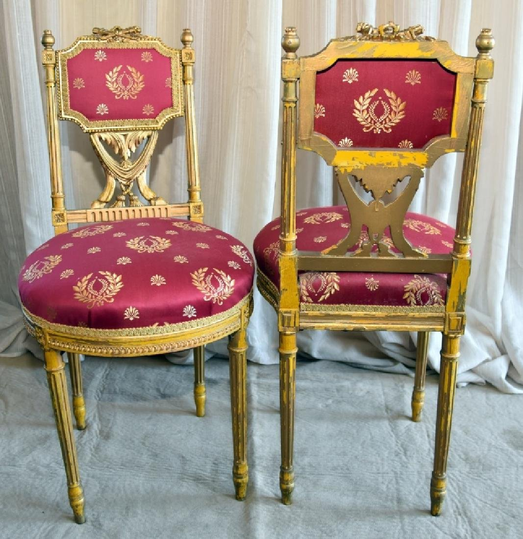 Pair Louis XVI Style Gold Painted Side Chairs - 3