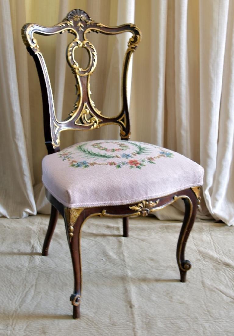 Louis XVI Style Side Chair w/Needlepoint Seat