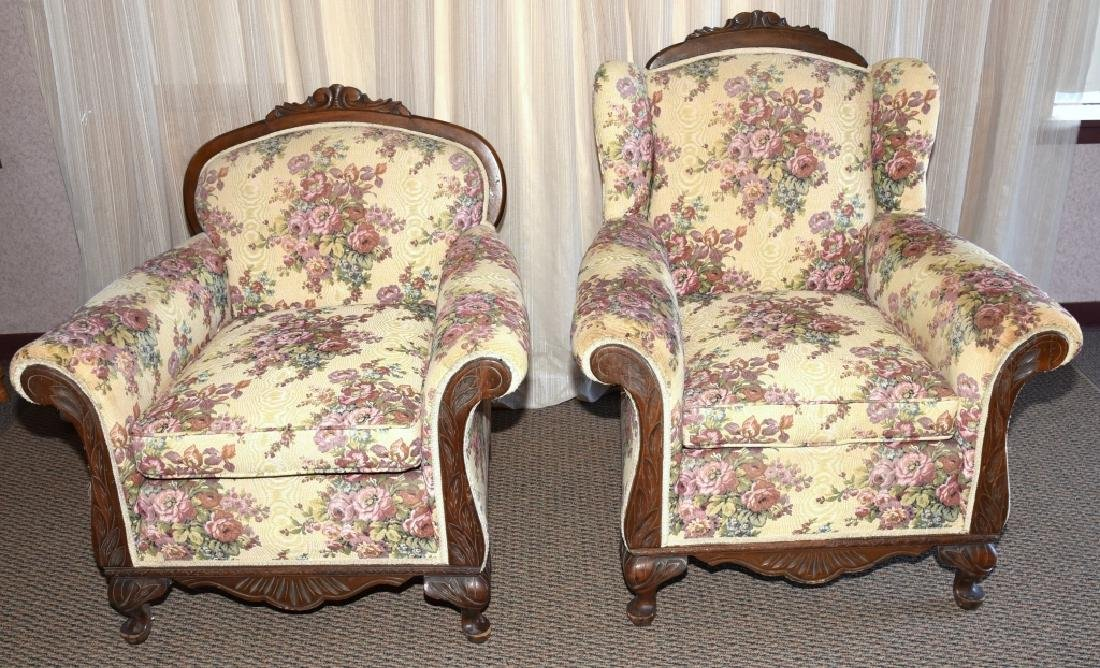 1930s Mr. & Mrs. Upholstered Chairs