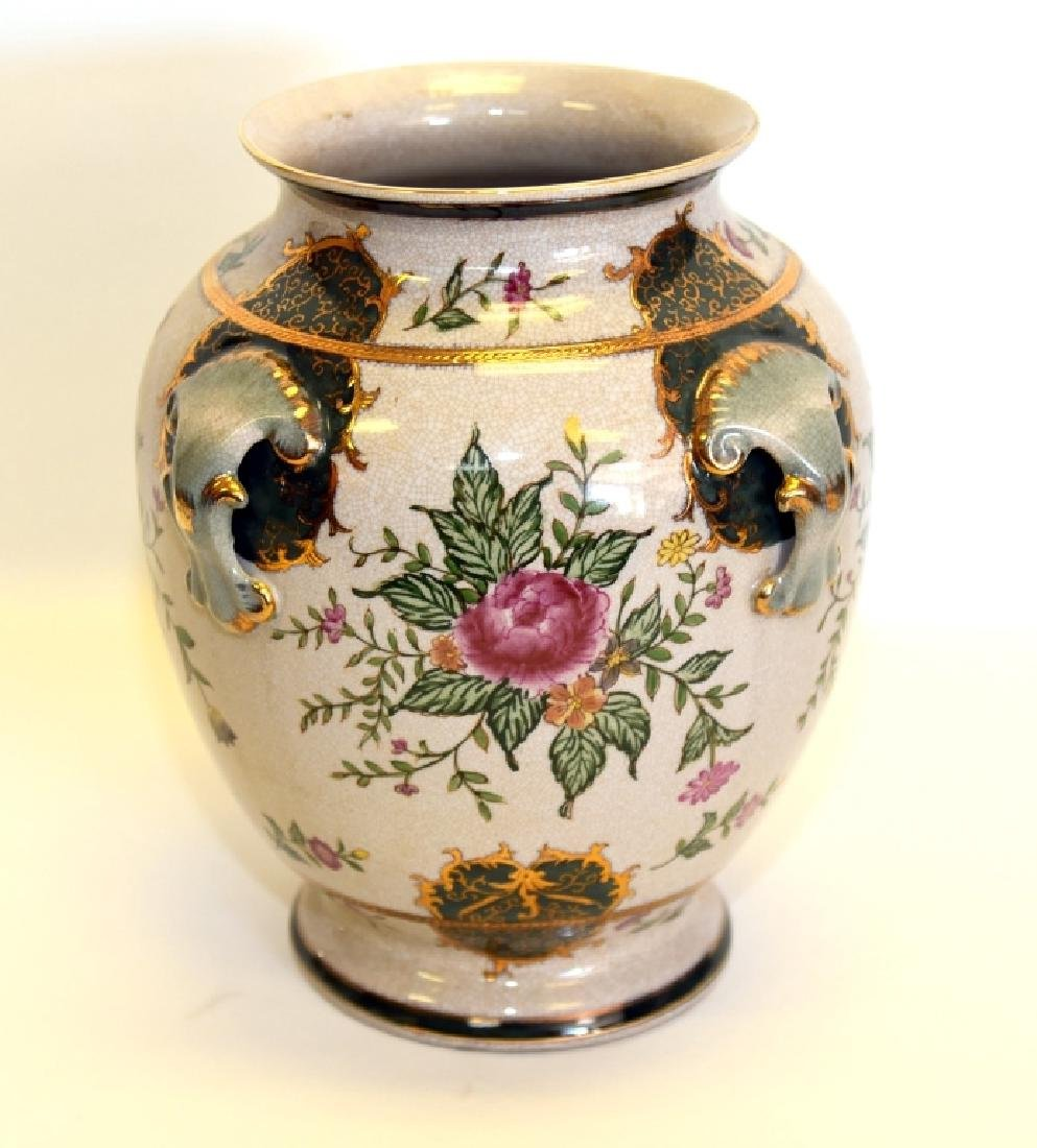 Handpainted Crackle Glaze Bulbous Vase