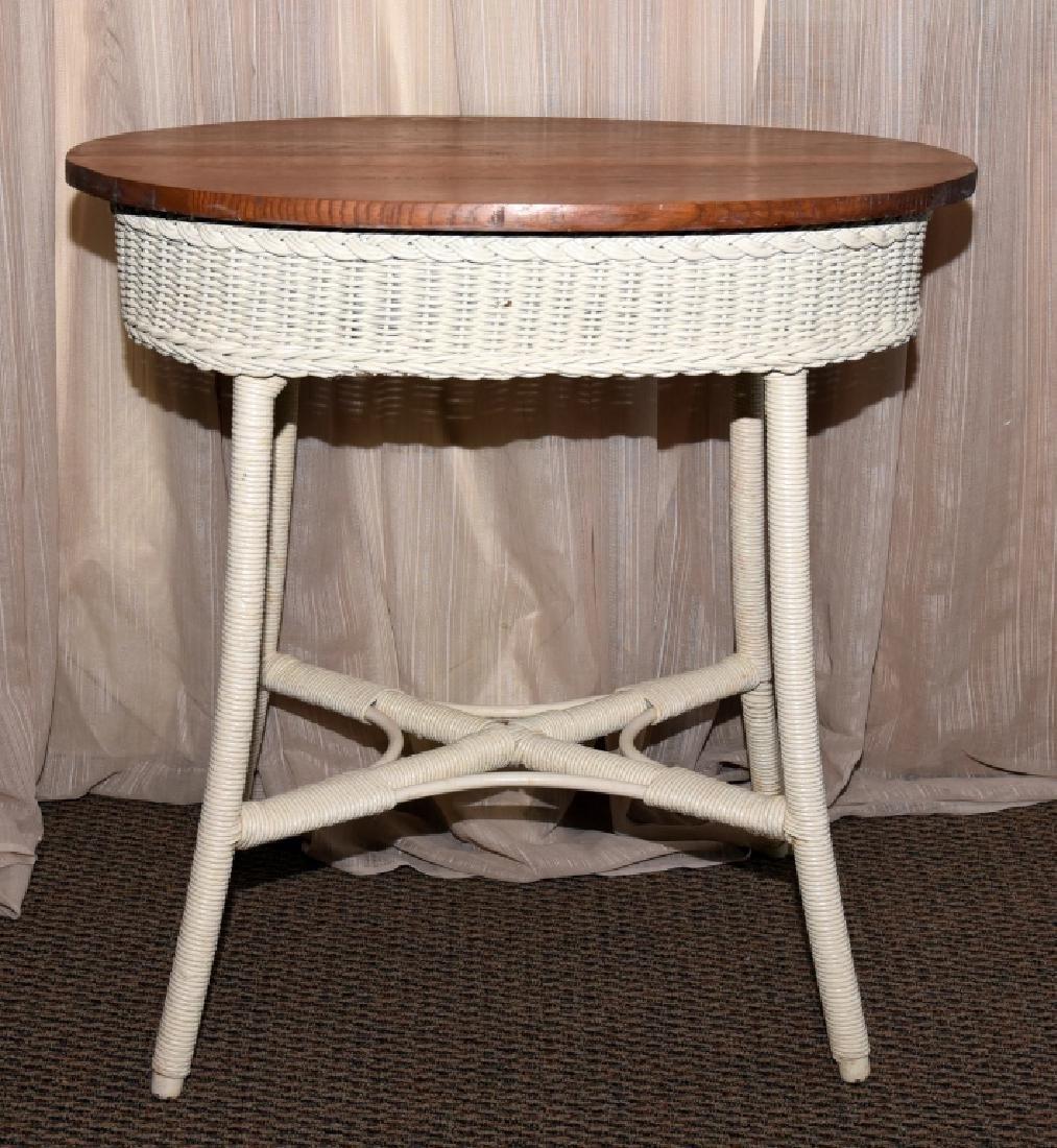 Vintage Wicker Oval Table w/Wood Top