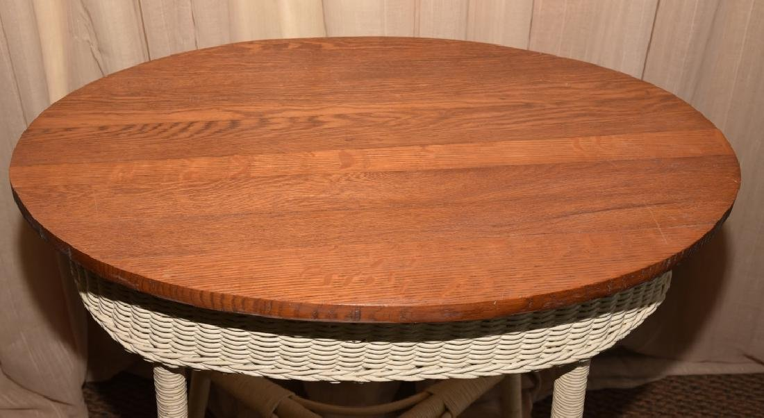 Vintage Wicker Oval Table w/Wood Top - 2