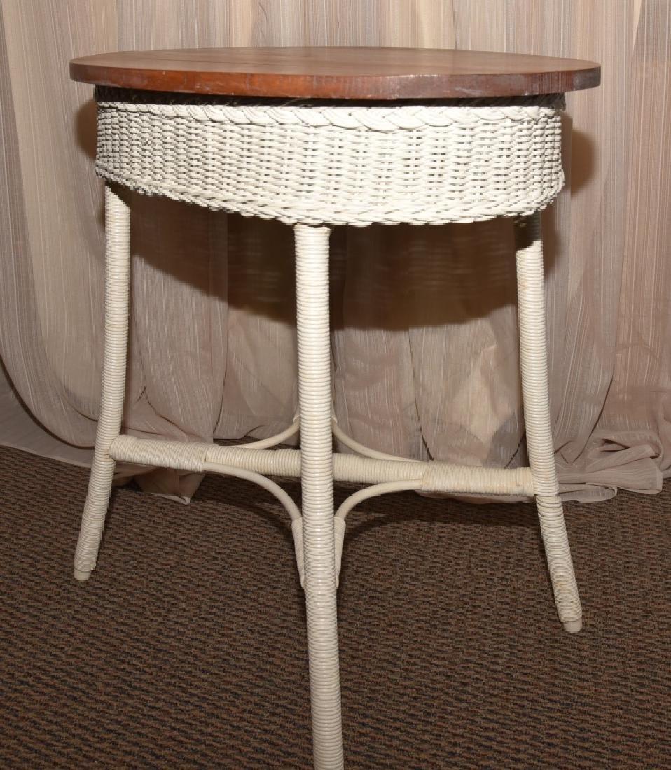 Vintage Wicker Oval Table w/Wood Top - 3