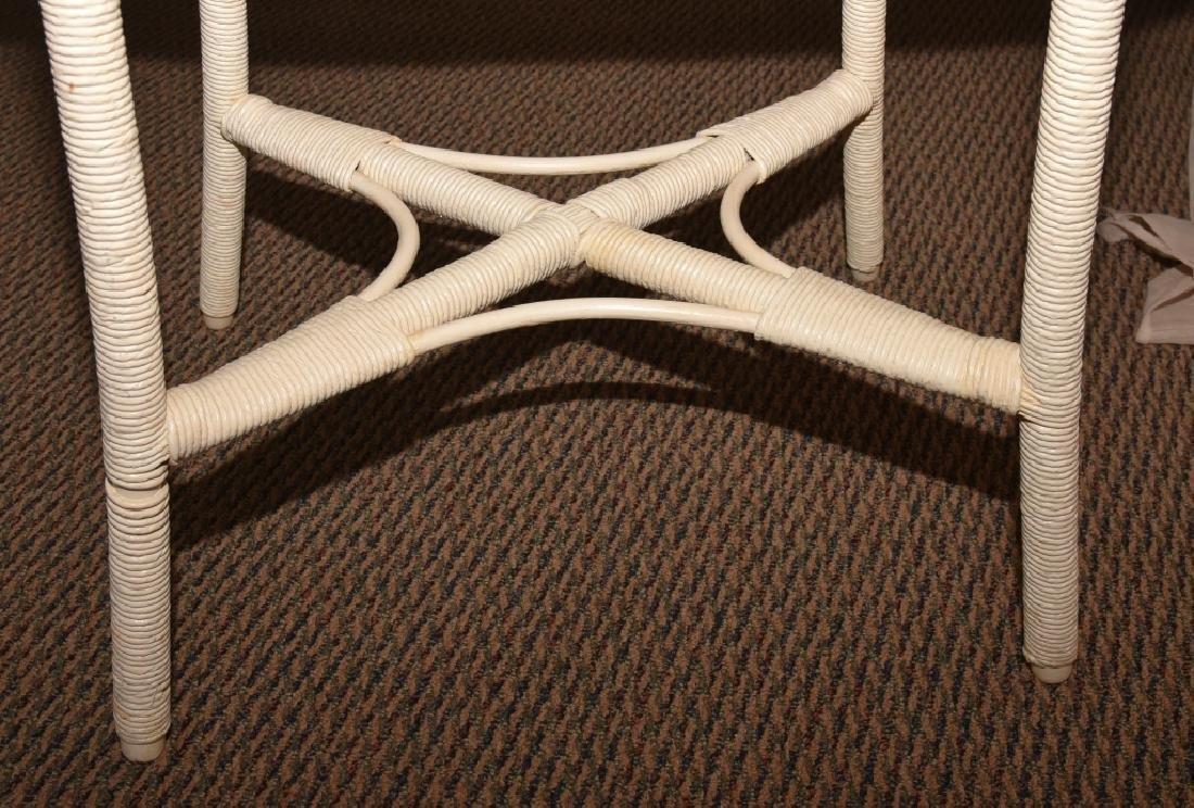 Vintage Wicker Oval Table w/Wood Top - 4