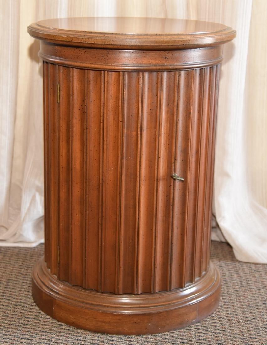 Burl Wood Round Storage Cabinet